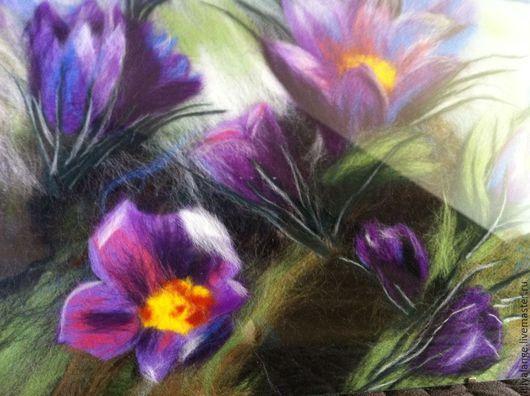 """Картины цветов ручной работы. Ярмарка Мастеров - ручная работа. Купить картина из шерсти """"сон трава"""". Handmade. Сиреневый, картина"""