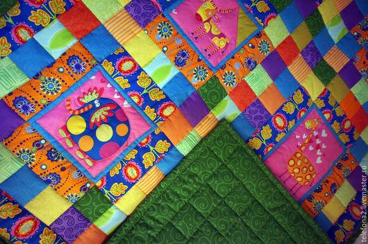 """Пледы и одеяла ручной работы. Ярмарка Мастеров - ручная работа. Купить Лоскутное детское одеяло """"Веселая Африка"""". Handmade. Разноцветный"""