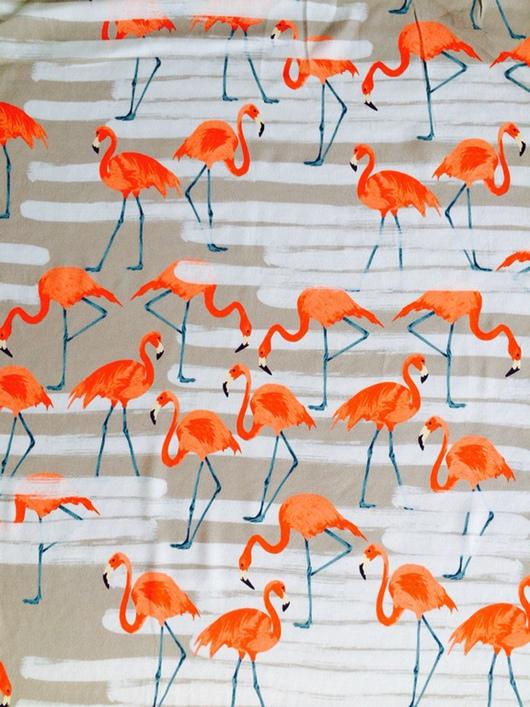 """Шитье ручной работы. Ярмарка Мастеров - ручная работа. Купить Вискоза Италия  """"Фламинго"""". Handmade. Бежевый, фламинго, юбка"""