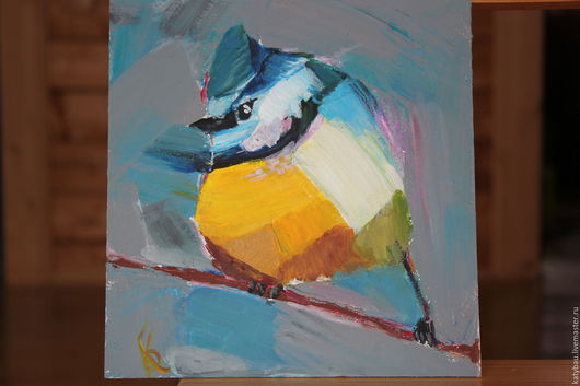 Синичка по мотивам работ Анжелы Молтон, 20Х30, картон, акрил