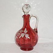 Винтаж handmade. Livemaster - original item decanter. Vintage CRANBERRY glass. Hand painted!. Handmade.