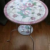 """Для дома и интерьера ручной работы. Ярмарка Мастеров - ручная работа """"Розы на столе """", """"Рапсодия в стиле блюз"""" стол с мозаикой. Handmade."""