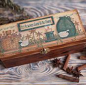 """Для дома и интерьера ручной работы. Ярмарка Мастеров - ручная работа Чайная шкатулка""""Милый дом"""". Handmade."""