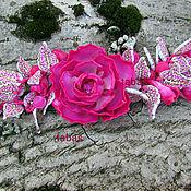 Украшения ручной работы. Ярмарка Мастеров - ручная работа Браслет объемный Розовый полимерная глина цветок белый коричневый винт. Handmade.