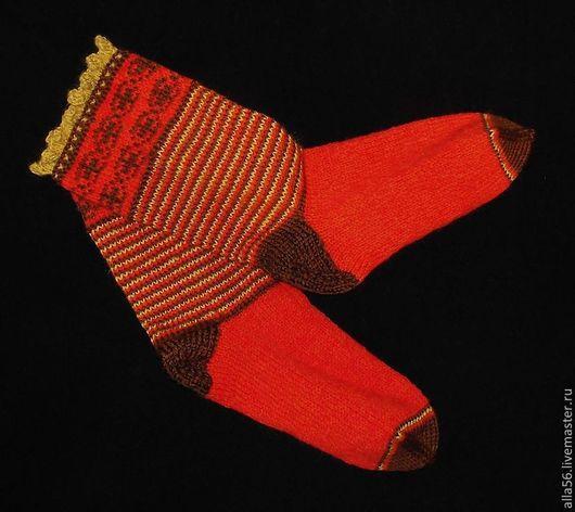 """Носки, Чулки ручной работы. Ярмарка Мастеров - ручная работа. Купить Носочки """"Из Индии"""". Handmade. Рыжий, носки спицами"""