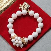 Украшения handmade. Livemaster - original item Bracelet white Christmas gift with rubber band suspension. Handmade.