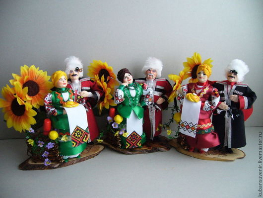 Народные куклы ручной работы. Ярмарка Мастеров - ручная работа. Купить Казачья пара у плетня (маленькая). Handmade. Черный, казачка