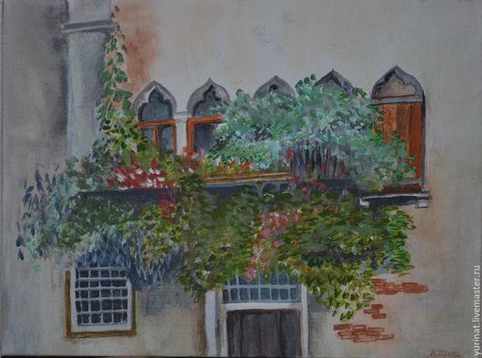 Пейзаж ручной работы. Ярмарка Мастеров - ручная работа. Купить Балкончик в зелени.. Handmade. Разноцветный, зелень, цветы, акриловые краски