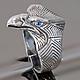 Орел, кольцо мужское из серебра, подарок мужчине на новый год