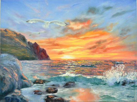 """Пейзаж ручной работы. Ярмарка Мастеров - ручная работа. Купить Картина маслом морской пейзаж закат 50/70 """"От заката до рассвета"""". Handmade."""