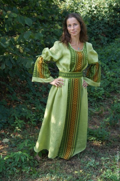 Одежда ручной работы. Ярмарка Мастеров - ручная работа. Купить Платье из льна Лесная берегиня. Handmade. Оливковый, лён