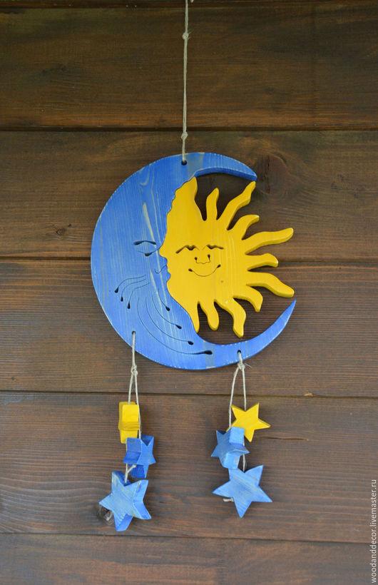 Подвески ручной работы. Ярмарка Мастеров - ручная работа. Купить Декор для дома Солнце и Луна со звездами. Handmade. Синий