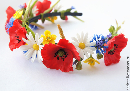 Диадемы, обручи ручной работы. Ярмарка Мастеров - ручная работа. Купить Ободок с полевыми цветами (маки, васильки, ромашки, лютики). Handmade.