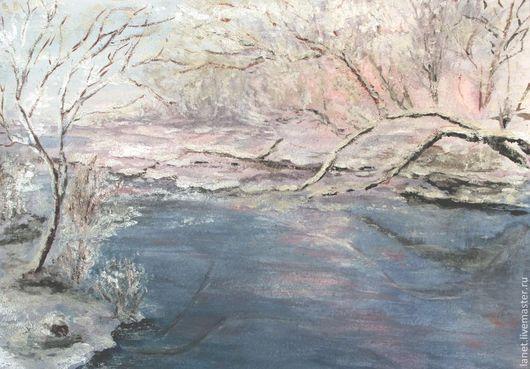 """Пейзаж ручной работы. Ярмарка Мастеров - ручная работа. Купить Акварельный рисунок """"В январе"""". Handmade. Голубой, розовый, река"""