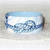 Украшения ручной работы. Ярмарка Мастеров - ручная работа Голубой деревянный браслет Морской узел. Синий белый дерево море. Handmade.