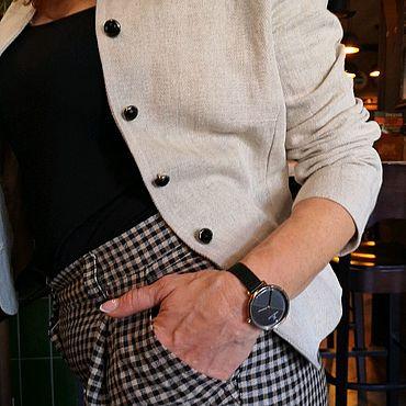 Одежда ручной работы. Ярмарка Мастеров - ручная работа Укороченные льняные брюки в мелкую клетку с карманами. Handmade.