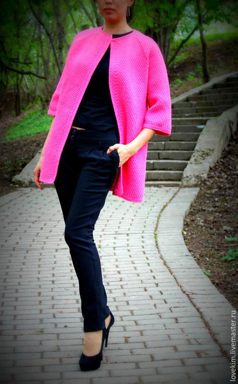Верхняя одежда ручной работы. Ярмарка Мастеров - ручная работа. Купить Кардиган. Handmade. Розовый, Весеннее пальто