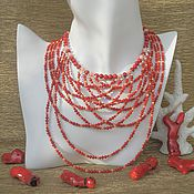 Украшения handmade. Livemaster - original item Luxurious Red Natural Bamboo Red and Pink Coral Necklace. Handmade.