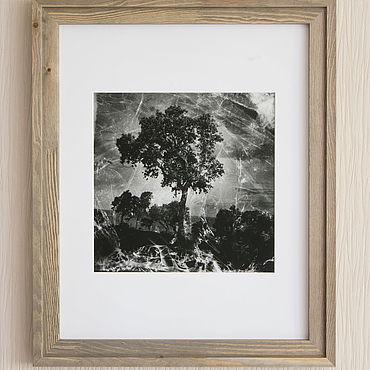 Картины и панно ручной работы. Ярмарка Мастеров - ручная работа Фотокартина на стену чб «Дерево на склоне». Handmade.