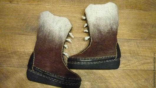 """Обувь ручной работы. Ярмарка Мастеров - ручная работа. Купить Валенки """"Для всех (мужские .женские). Handmade. Коричневый"""