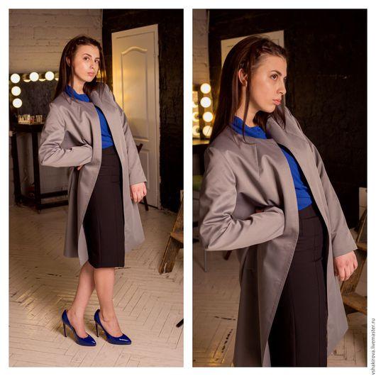Верхняя одежда ручной работы. Ярмарка Мастеров - ручная работа. Купить Летнее пальто из жаккарда Grey. Handmade. Серый