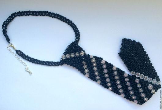 """Колье, бусы ручной работы. Ярмарка Мастеров - ручная работа. Купить Колье """"Блестящий галстук"""". Handmade. Черный, бусины"""