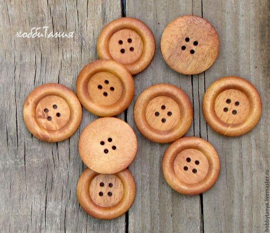 Шитье ручной работы. Ярмарка Мастеров - ручная работа. Купить Пуговица деревянная рыжая большая. Handmade. Оранжевый, деревянная пуговица