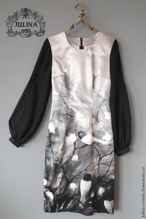 """Платья ручной работы. Ярмарка Мастеров - ручная работа. Купить Платье шелковое """"Птицы"""". Handmade. Чёрно-белый, платье футляр"""
