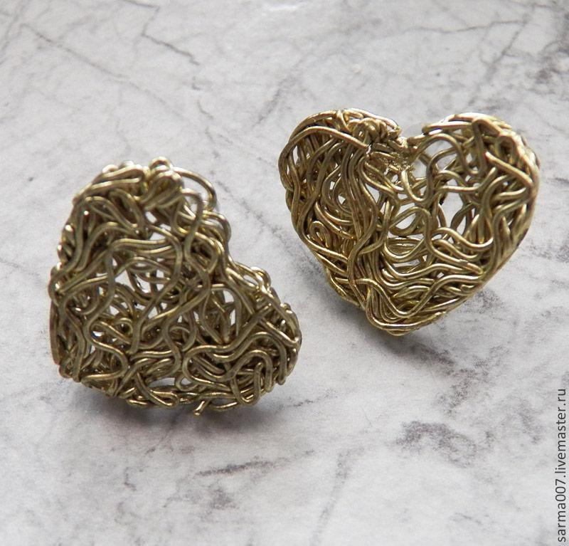 Earrings 'Hearts' brass, Earrings, Voronezh,  Фото №1