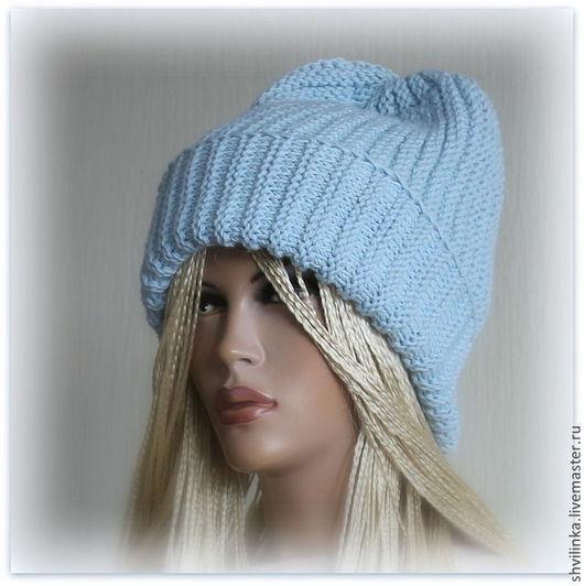 """Шапки ручной работы. Ярмарка Мастеров - ручная работа. Купить """"Шампань"""" шапка вязаная голубая. Handmade. Голубой, шапка для девочки"""