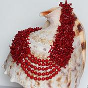 Украшения ручной работы. Ярмарка Мастеров - ручная работа Бисерное колье Красный коралл. Handmade.