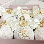Елочные игрушки ручной работы. Ярмарка Мастеров - ручная работа Набор елочных шаров в подарочной коробке. Handmade.