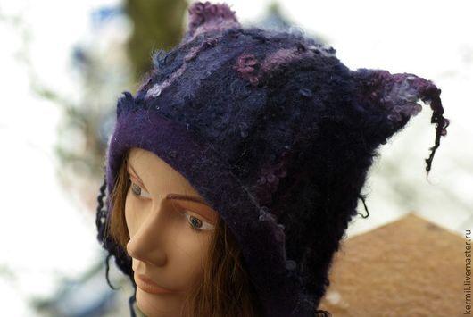 """Шапки ручной работы. Ярмарка Мастеров - ручная работа. Купить Шапка валяная """"Violet"""". Handmade. Шапка валяная, валяная шапка"""