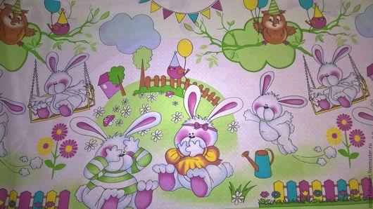 ткань для постельного белья, детская ткань, ткань с детским рисунком, ткань с совами, ткань для бортиков, ткань для творчества, ткань для детей, детский хлопок.