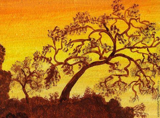 """Подарочные наборы ручной работы. Ярмарка Мастеров - ручная работа. Купить картина """"Оранжевый закат"""" (оранжевый, коричневый). Handmade. Осень"""