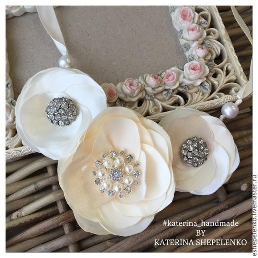 Свадебные украшения ручной работы. Ярмарка Мастеров - ручная работа. Купить Колье текстильное 3 нежных цветка (на заказ). Handmade.