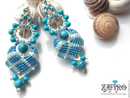 """Серьги ручной работы. Ярмарка Мастеров - ручная работа. Купить Плетеные серьги """"Turquoise"""" с натуральными камнями, макраме. Handmade. Голубой"""