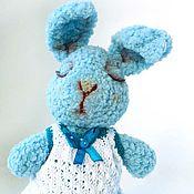 Куклы и игрушки ручной работы. Ярмарка Мастеров - ручная работа Зайка сплюшка (сонюшка)  голубой. Handmade.