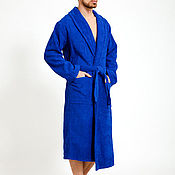 Одежда handmade. Livemaster - original item Bathrobe terry blue 58 size. hlopok100%. Handmade.