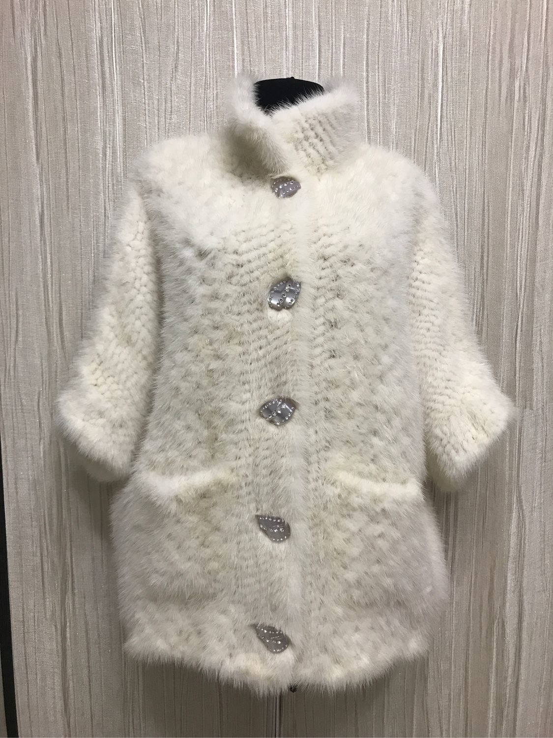 Knitted mink cardigan color ' ivory', Cardigans, Moscow,  Фото №1