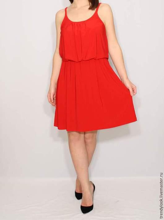 Платья ручной работы. Ярмарка Мастеров - ручная работа. Купить Красное Платье летнее, короткий сарафан на бретельках. Handmade. красный