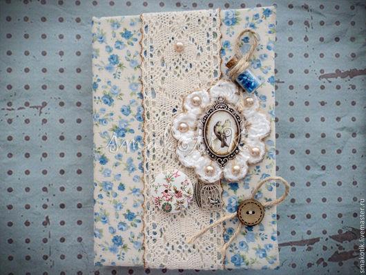 """Блокноты ручной работы. Ярмарка Мастеров - ручная работа. Купить Блокнот """"Птичья любовь"""". Handmade. Голубой, блокнот для записей, картон"""