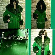 Одежда ручной работы. Ярмарка Мастеров - ручная работа Пальто зеленое с мехом. Handmade.