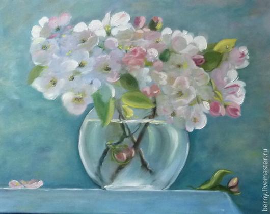 Картины цветов ручной работы. Ярмарка Мастеров - ручная работа. Купить Яблони в цвету. Handmade. Бледно-розовый, цветы, весна