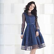 Одежда ручной работы. Ярмарка Мастеров - ручная работа Платье вечернее из органзы, синее платье. Handmade.