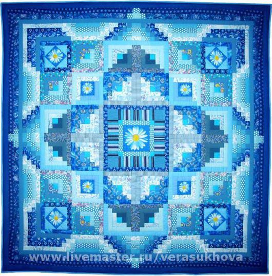 """Текстиль, ковры ручной работы. Ярмарка Мастеров - ручная работа. Купить Одеяло """"Небесная высь"""" 220х220см. Handmade. Лоскутное одеяло"""