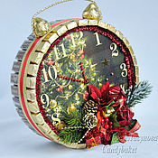 Подарки к праздникам ручной работы. Ярмарка Мастеров - ручная работа Новогодние часы с сюрпризом. Handmade.
