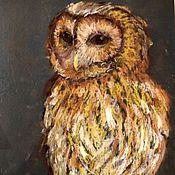 Картины и панно ручной работы. Ярмарка Мастеров - ручная работа Сова в теплых тонах картина пастелью на наждачной бумаге. Handmade.