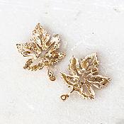Материалы для творчества handmade. Livemaster - original item 1776_1_ maple leaf Pendant 27mm x 20mm, Pendant gold. Handmade.