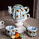 Кухня ручной работы. Ярмарка Мастеров - ручная работа. Купить Чайник и чашки текстильные.. Handmade. Голубой, текстильный чайник
